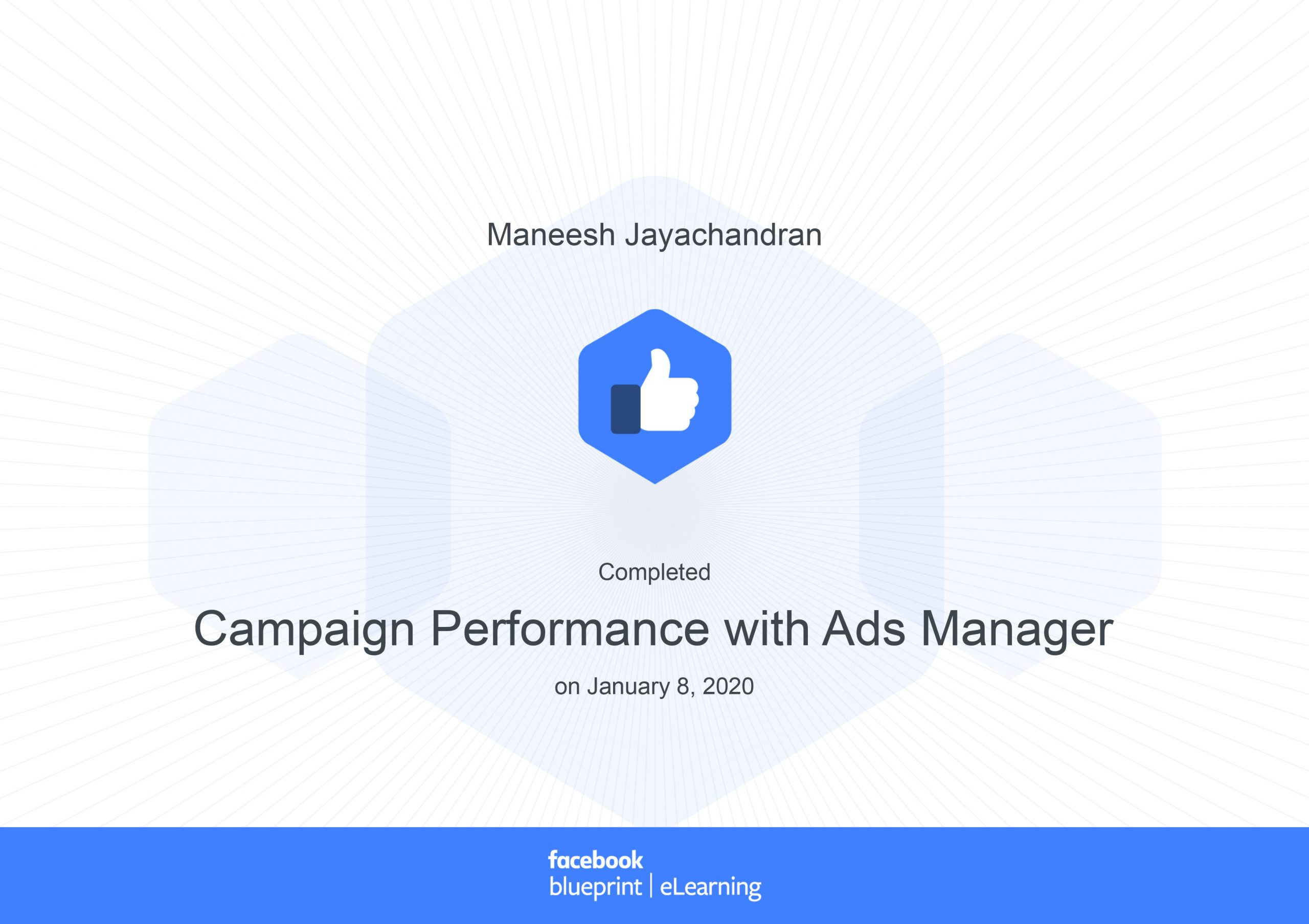 Completed facebook blueprint course on ads manager campaign performance